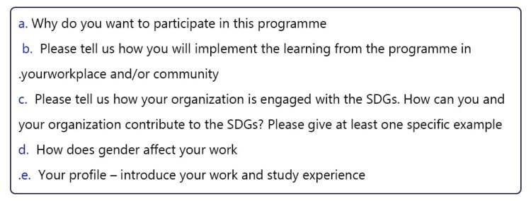 Questions of the Unitar women leadership program