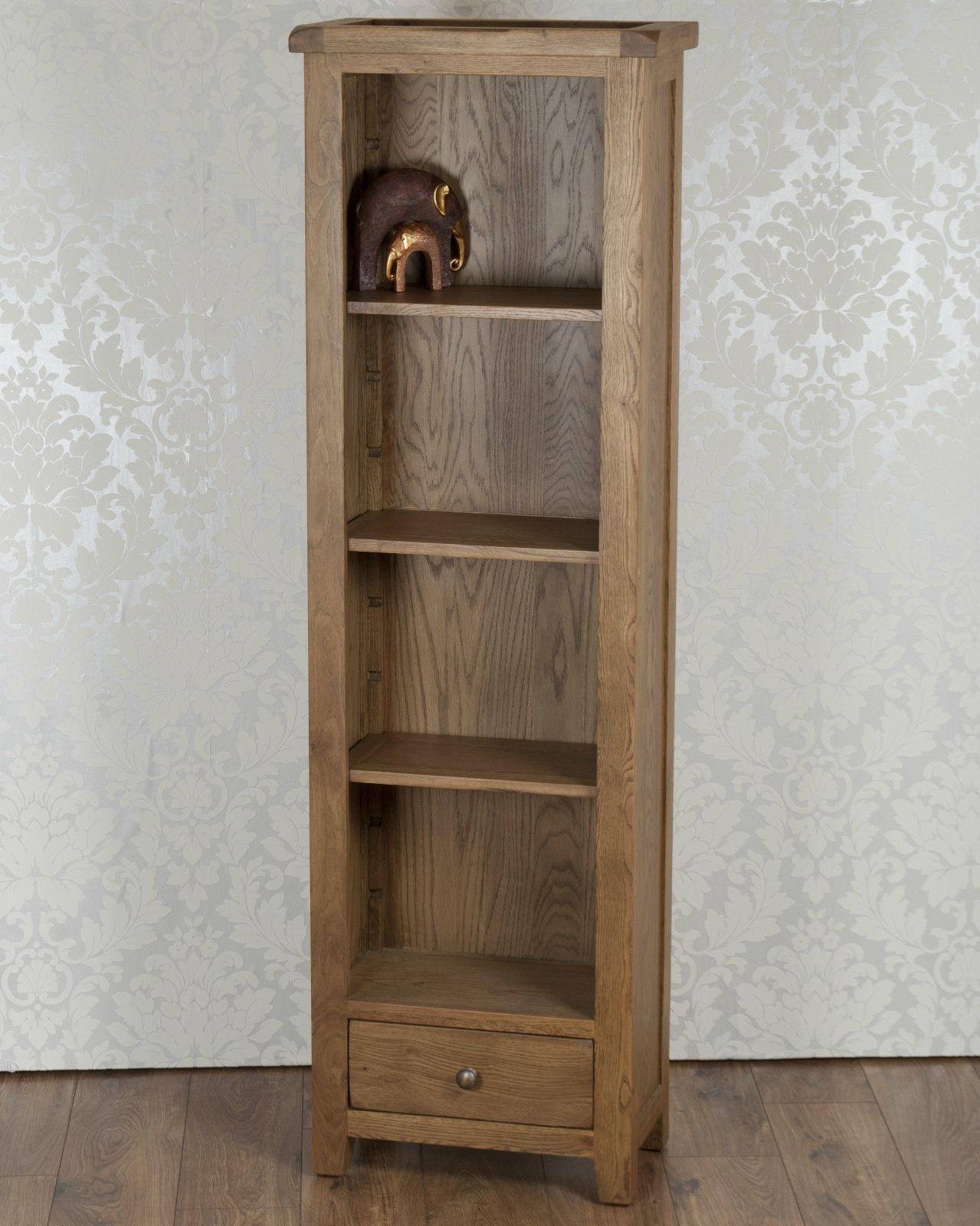 Solid Oak Display Cabinet Slim Bookcase Storage Unit In