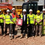 Winners! Oakbourne's Gloucester Business Park Team receiving Subcontrator Of The Quarter Award from Kier Construction