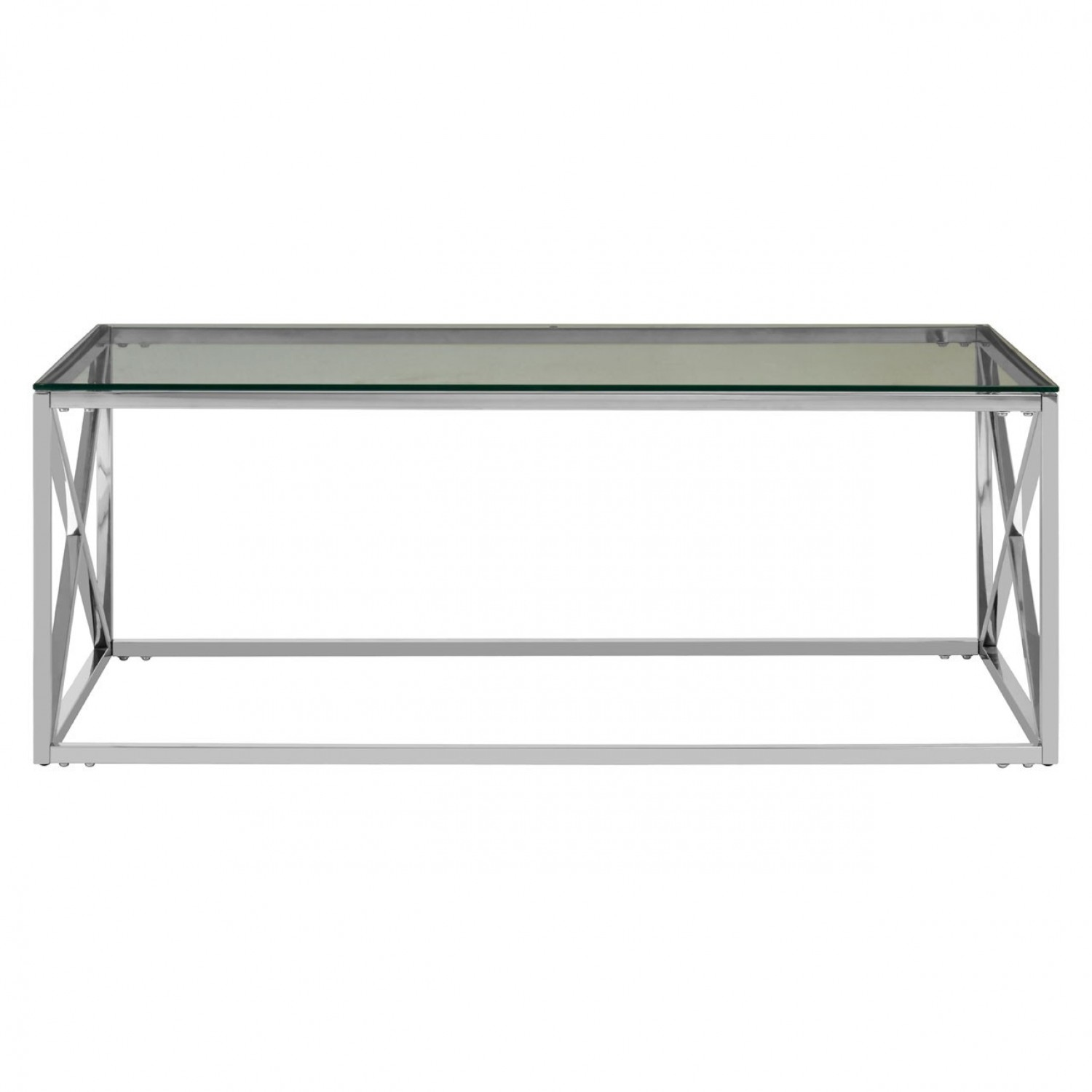 premier housewares allure chrome black glass cross leg coffee table
