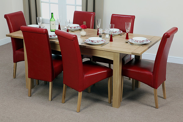 5ft X 3ft Cairo Solid Oak Extending Dining Table   6 Red Leather Scroll  Back Dining Chairs5ft X 3ft Cairo Solid Oak Extending Dining Table   6 Red Leather  . Dining Table And 6 Red Leather Chairs. Home Design Ideas