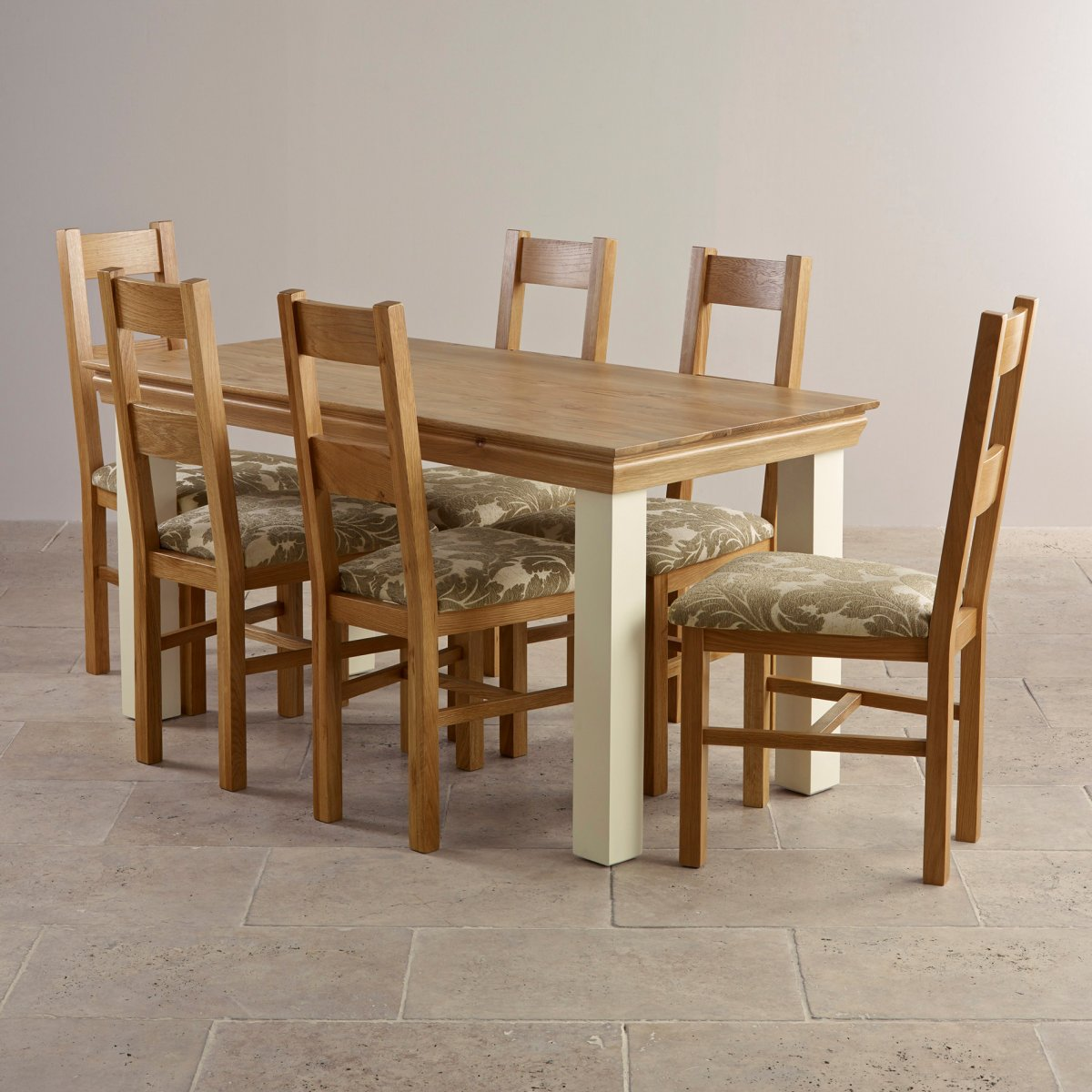 country cottage dining set in painted oak dining table 6 on country farmhouse furniture id=53549