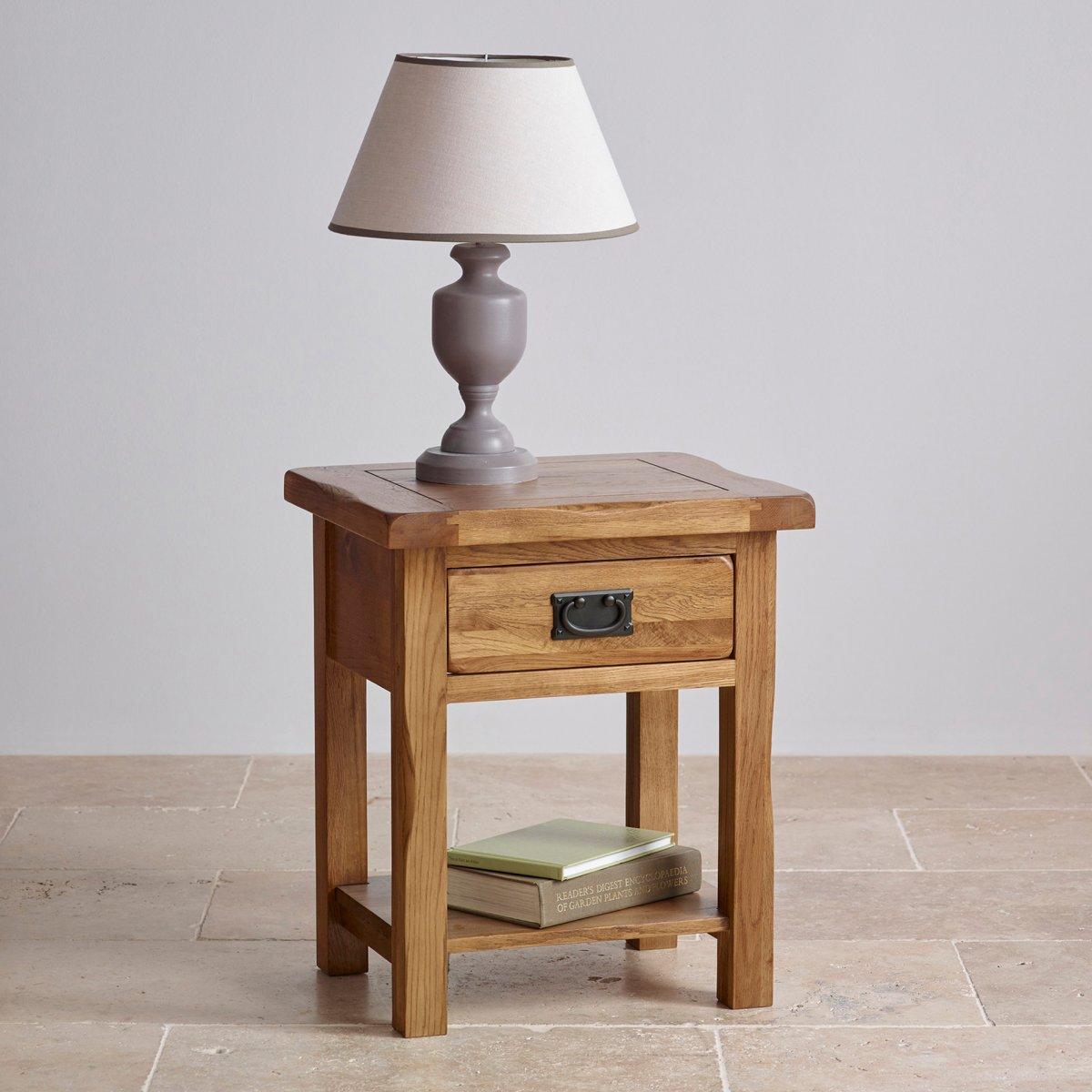 Original Rustic Lamp Table In Solid Oak Oak Furniture Land