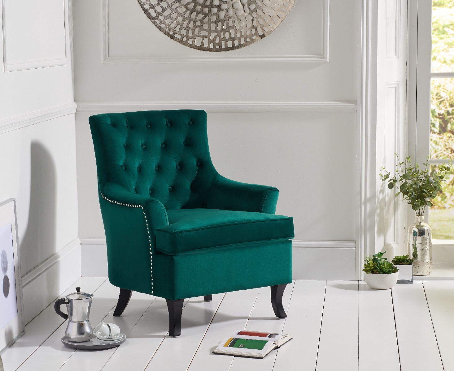 Belsize Green Velvet Accent Chair