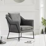 Lara Grey Velvet Accent Chair With Black Legs