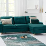 Constance Double Sofa Bed Right Facing Chaise In Green Velvet Sofas