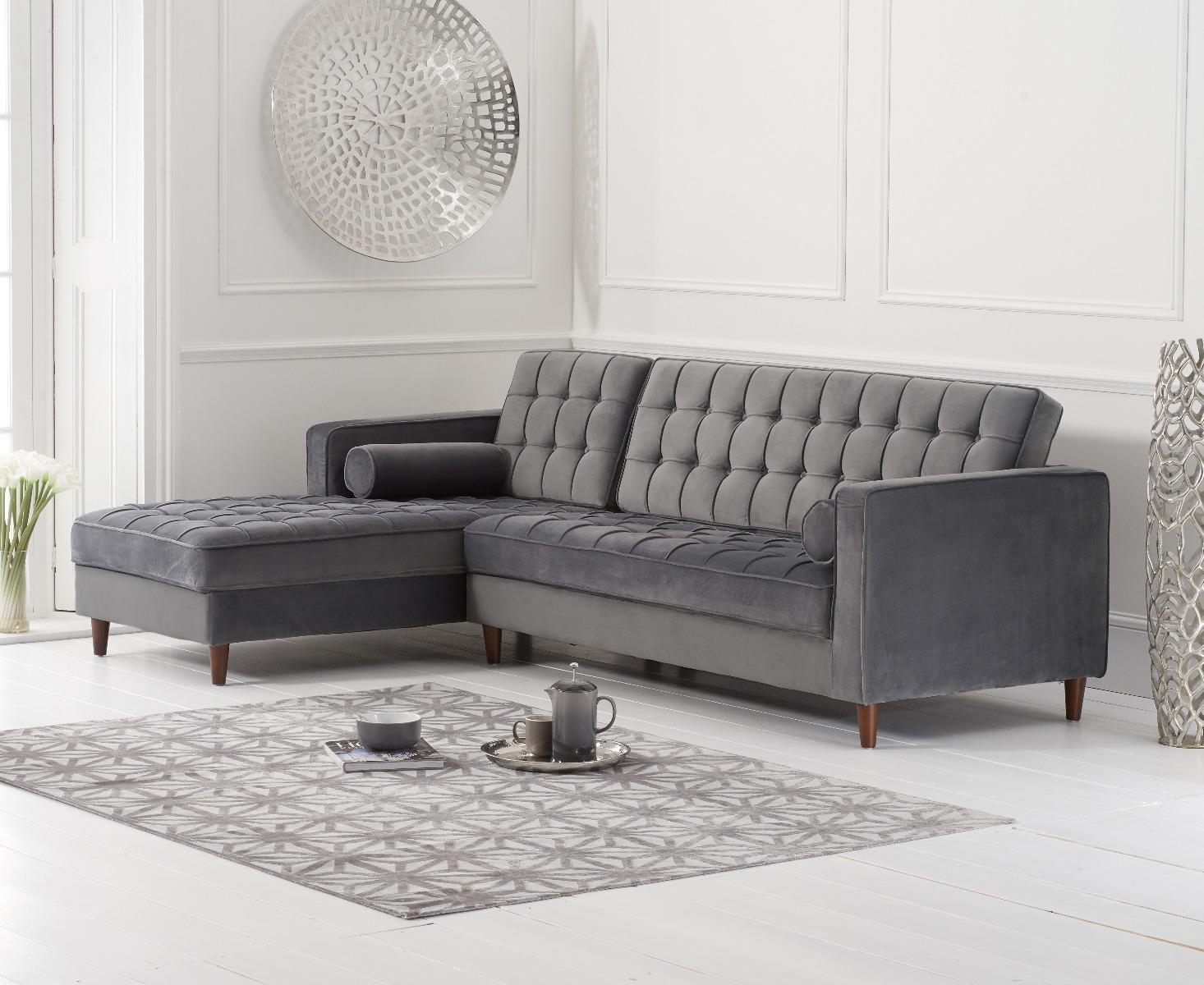atlantic grey velvet left facing chaise sofa