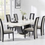 Raphael 200cm White Pedestal Marble Dining Table With Raphael Chairs