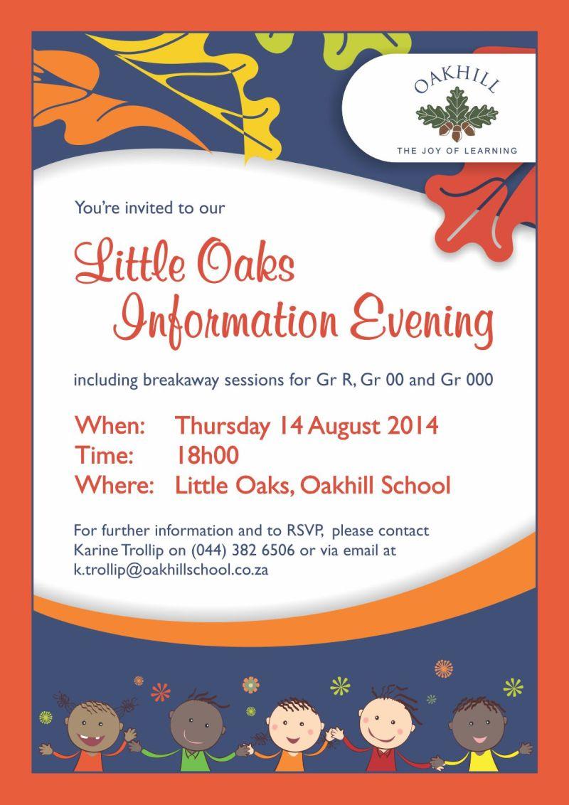Little Oaks Info Evening  Poster