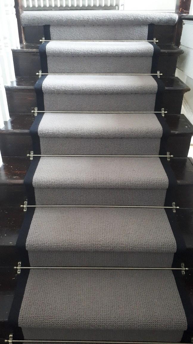Bloomsbury 100 Wool Carpet Fitted With Jubilee Antique Stair | Grey Herringbone Carpet Stairs | Antelope | Victorian | Middle Stair | Roger Oates | Blue