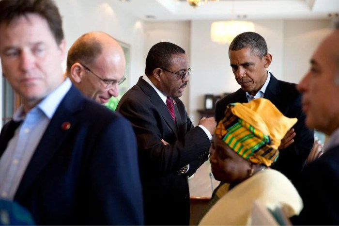 President Barack Obama meets Ethiopian Prime Minister Hailemariam Desalegn during 2013 G8 Summit. Credit: Pete Souza, White House Photographer
