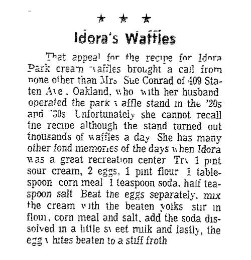 Idora Waffle Recipe