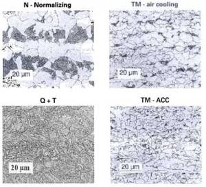 Grain microstructure of quenched and tempered and thermomechanically rolled steel compared to normalized steel