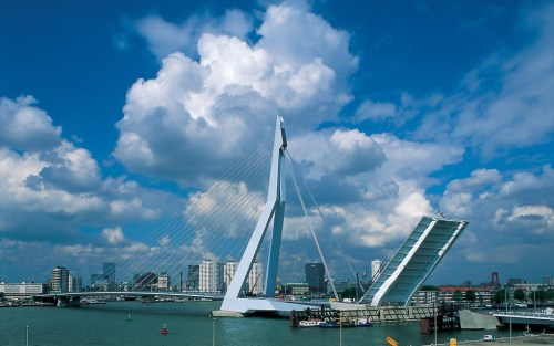 Figure 8: Erasmus bridge construction using TM structural steel plates (Gr. 355 M and Gr. 460 M)