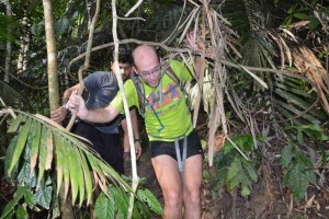 Denis going through some foliage on a run with the Hash House Harriers