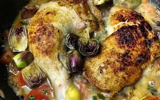 OakMonster - Food - Braised Chicken with Baby Purple Artichoke