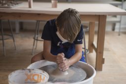 Kids make pottery during a summer camp on Monday, June 22, 2020, at Viaclay Community Pottery Sudio on Marion Street in Oak Park, Ill. | ALEX ROGALS/Staff Photographer