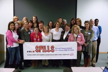 OPRF teachers Annie Slivinski, Lisa Vincent and Kara Lindsay (top left), pose with co-winners from Illinois schools of the JJ's List Spills Grant, the first Internet Safety program for students with disabilities in the nation.