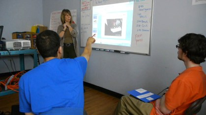 OPRF-Community Integrated Transition Education (CITE) Teacher Annie Slivinski teaches Internet safety to students with disabilities from the SPILLS Internet Safety & Productivity Grant.