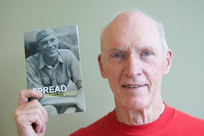 """Tom Murphy, 87, is on the cover of """"SPREAD"""" as an 18-year-old private in the Marines. David Pierini/staff photographer"""