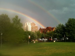 Our nature blogger Dave Coulter captured this beautiful photo of the rainbow from Scoville Park.
