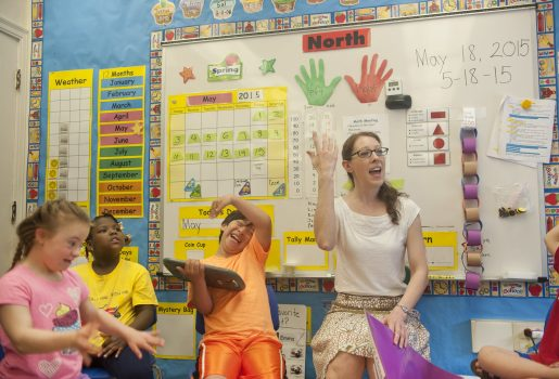 """Lauren Saliny, a special ed teacher and Golden Apple Award winner, plays a game called """"Who took the cookie?"""" with her students. 