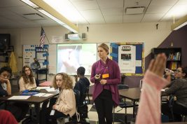 Megan Harkins from NAMI addresses Jennifer Harrington's class at Gwendolyn Brooks Middle School in Oak Park about mental illness and the stigma of the disease. WILLIAM CAMARGO/Staff Photographer