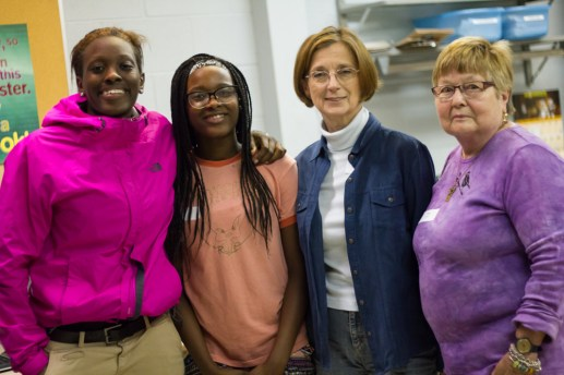 On the first night of tutoring for this school year at Pine Avenue United Church (left to right) Bria Dyer, Nyla Dyer, Joni Strand and Marge Lyon pose for a picture. STACEY RUPOLO/Contributor