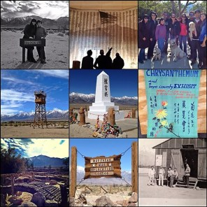 Top left: Lourdes Nicholls and her mom, Fumi Knox, at the remains of what's left of Block 20 at Manzanar. Top Middle: The names of all Manzanar internees are displayed at the Manzanar Museum (backdrop is a photo Dorothea Lange took). Top Right: Lourdes, Fumi with cousins visiting Manzanar at the 2014 Pilgrimage. Middle Left: One of eight watchtowers that loomed over Manzanar (equipped with search lights and machine guns). Middle: Manzanar's Soul Consoling Tower (that's what the Japanese characters translate to), erected in 1943 as a marker/place for those who passed away but is now the monument that defines camp restoration. Middle Right: A poster from the Visual Education Museum's exhibit (donated to the Manzanar Museum by Fumi and now displayed at the mess hall in the museum). Bottom Left: Restoration of the historic Japanese Gardens that the internees created to give peace to all during time of turmoil. Bottom Middle: Signage enter the Manzanar National Historic Site. Bottom Right: Photo of the Visual Education Museum staff taken by Ansel Adams (Toyo Miyatake, far left, Kiyotsugu, far right). | Photo/Illustration courtesy Lourdes Nicholls