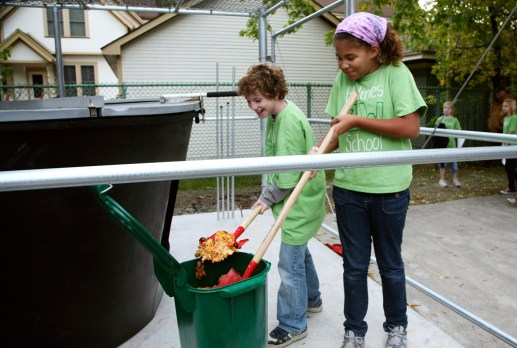 Food, glorious food: Students prepare leftovers for the Earth Tub at Holmes School.District 97