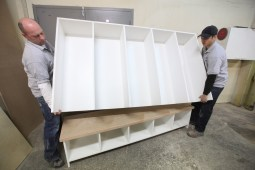Jim Reeves (left) and Rod Engleberg work on a project at For Your Space Design.