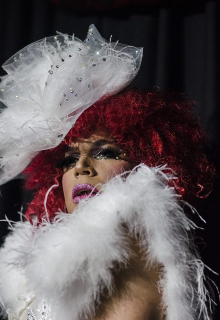 What a drag! Angel LeBare (who did not), served as host(ess) of the 'Dining with the Divas' drag show, which kicked off Hamburger Mary's grand opening, Friday night. | WILLIAM CAMARGO/Staff Photographer