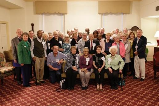 """More than 40 of this year's """"60 Over 60"""" Celebrating Seniors class gather for a group photo at the 19th Century Club on Thursday, May 5."""