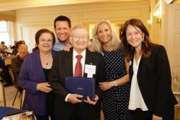 """Dr. Jaime Escobar was accompanied by family members who celebrated his """"60 Over 60"""" recognition. Founder and first president of the Bolivian-American Medical Society, Escobar has been a Rotarian since 2004 and is a former president of the Rotary Club."""