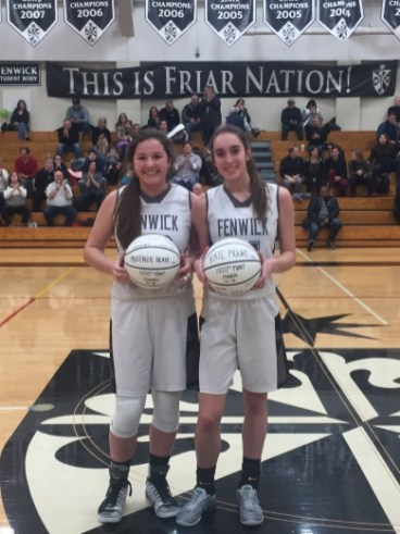Seniors McKenzie Blaze, left, and Kate Moore have both scored over 1,000 points during their high school careers at Fenwick. (Courtesy Twitter/FenwickAD)