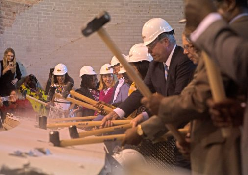 Out with the old: Catalyst officials and other community leaders break ground, April 19, for the new performing arts center at Catalyst Circle Rock Charter School in Austin. | ALEXA ROGALS/Staff Photographer