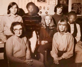 "Louise Varnes started off as a Housing Center volunteer when the organization was housed at First United Church. Above, a photo of the original Housing Center staff shows longtime director Roberta ""Bobbie"" Raymond (center) and Varnes (top row, far right). 
