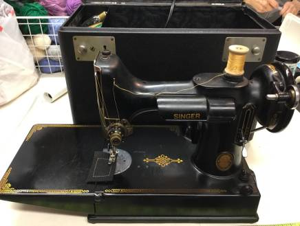 A 1950 Singer Featherweight working sewing machine, donated to the Economy Shop, is on display at the OP-RF Museum and will be available at a silent auction at the shop on June 8. | Photo provided by The Economy Shop