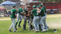 The River Forest 12U baseball team celebrates its 7-6 win over Tri-Cities in the state championship game. (Coutesy Dennis Jarnecke)