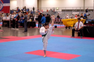 Nabilia DiOrio, who earned a silver medal in individual poomsae at Nationals, is one of several promising Taekwondo students at Flying V. (Submitted Photo)
