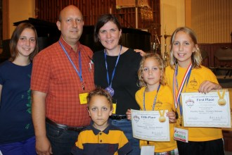 The Bible Bee was a family affair for the Nortons: Elizabeth, Dan, Wesley, Julie, Sadie and Esther (left to right).