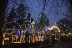 Holiday decorations covering most of the property at the home on Franklin on Thursday, Dec. 17, 2020, in River Forest, Ill. | ALEX ROGALS/Staff Photographer