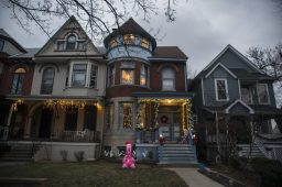 A home on Clinton is seen with an inflatable flamingo in the front yard on Thursday, Dec. 17, 2020, in Oak Park, Ill. | ALEX ROGALS/Staff Photographer