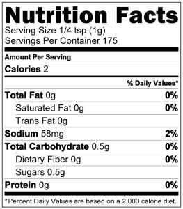 Competition B&P Nutrition Label