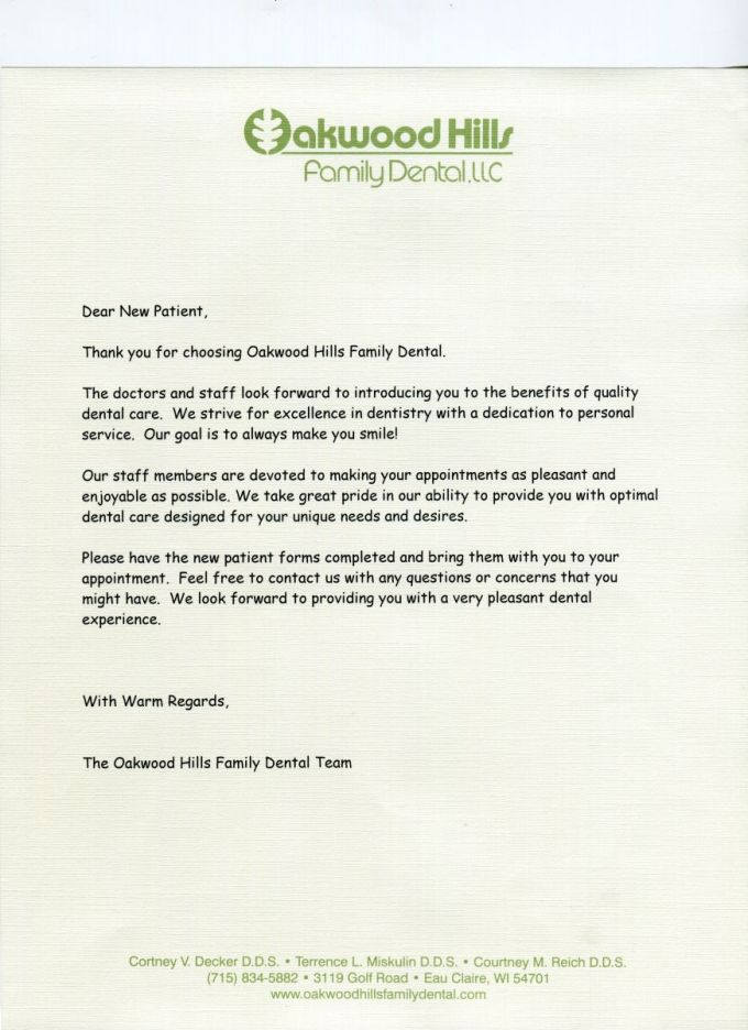 new patient welcome letter dental poemsrom co