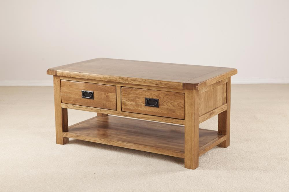 devonshire rustic oak coffee table 2 drawer with shelf