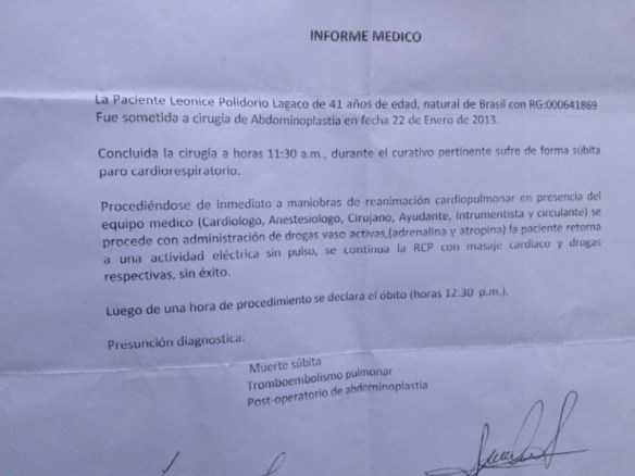 Laudo do hospital boliviano constatou morte por parada respiratória (Foto: Paula Casagrande/G1)