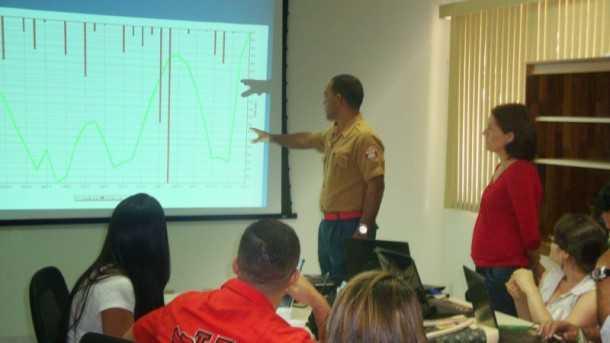 O curso em andamento: interpretando gráficos e dados técnicos complexos para disponibilizar informações confiáveis à sociedade(Foto: Assessoria Sema)