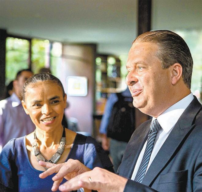 A ex-senadora Marina Silva e o governador de Pernambuco, Eduardo Campos (PSB), em São Paulo (Foto Danilo Verpa/Folhapress)