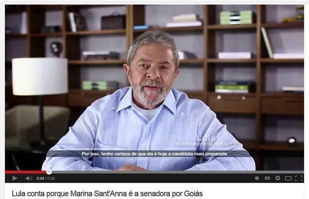 Cena do vídeo em que o ex-presidente Lula declara apoio à candidata ao Senado pelo PT de Goiás, Marina Santana (Foto: Reprodução/YouTube)